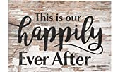 This is Our Happily Ever After Whitewash 10 x 7 Wood Boxed Pallet Wall Plaque Sign
