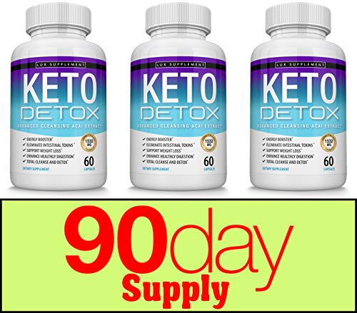 Keto Detox Pills Advanced Cleansing Extract - 1532 Mg Natural Acai Colon Cleanser Formula Using Ketosis & Ketogenic Diet, Flush Toxins & Excess Waste, for Men Women, 60 Capsules, Lux Supplement