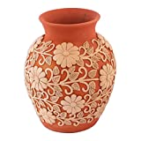 NOVICA Floral Ceramic Vase, Earthone, 'Pure Earth'