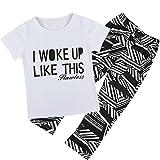 iiniim Girls Kids Short Sleeve T-Shirt Top Pants Leggings Set Clothing Outfits (18-24 Months)