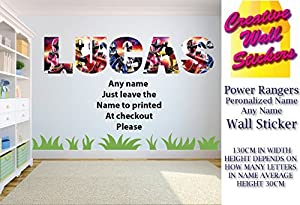 Power Rangers Wall Art Sticker ANY NAME Childrens Bedroom Wall Decal. Part 36
