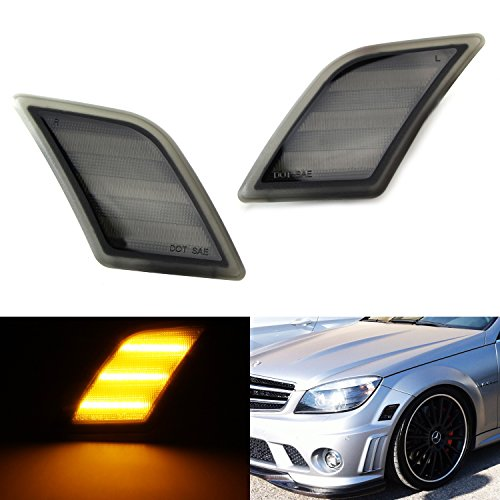 iJDMTOY (2) Euro Smoked Lens Amber LED Side Marker Lights Fit 2008-2011 Mercedes Benz W204 C250 C300 C350 & 2008-2013 C63 AMG (C63 Amg)