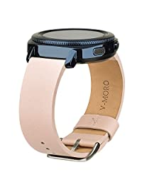 """SM-R600 Gear Sport Bands, V-Moro 20mm Softer Leather Band Bracelet Strap for Samsung Gear Sport Smartwatch R600 GPS Fitness and Gear S2 Classic SM-R732/SM-R735 6.1""""-8.2"""" Men Women (Pink)"""