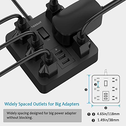 Power Strip with USB Ports 6 Outlets Desktop Charging Station with 15A 4ft Extension Cord and Circuit Breaker Safeguard Home and Office Accessories ETL Listed Black