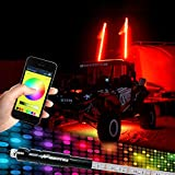 Night Fire 5FT RGB LED Whips LED Antenna Bluetooth Control Multi-color For Polaris RZR UTV Lights Whip for ATV Flag Pole Racing Motorcycle Offroad Truck (One Whip)