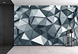wall26 - Abstract 3d Rendering of Metal Surface. Background with Futuristic Polygonal Shape. - Removable Wall Mural | Self-adhesive Large Wallpaper - 100x144 inches