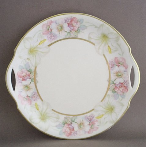 Antique Flambeau Limoges China LDB Co Floral Cake Plate -