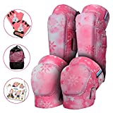Innovative Soft Kids Knee and Elbow Pads with Bike Gloves | Toddler Protective Gear Set w/Mesh Bag | Roller-Skating, Skateboard for Children Boys Girls (Pink Snowflake, Medium (4-8 Years))