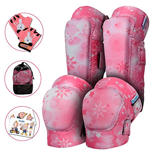 Innovative Soft Kids Knee and Elbow Pads with Bike Gloves | Toddler Protective Gear Set w/Mesh Bag | Roller-Skating, Skateboard for Children Boys Girls (Pink Snowflake, Large (8-11 Years)) -