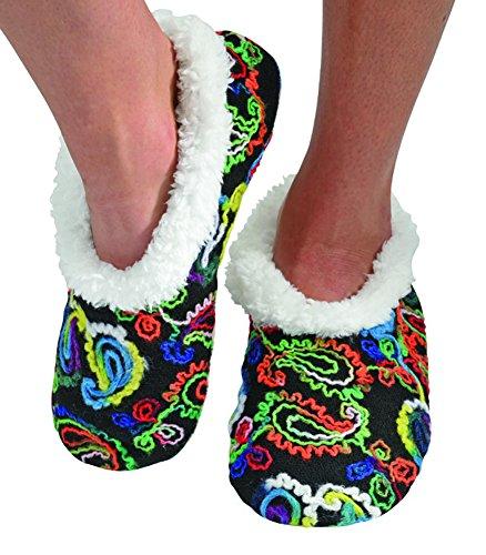 Snoozies Womens Multi Artisan Comfy Soft Fleece Slipper Socks