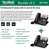 Yealink SIP-T23G, 3 Lines HD Professional VoIP Phone, 3SIP Accts, 3way conf., dual port Gigabit, PoE, BUNDLE of 2