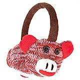 Accessoryo Women's Cute Monkey Style Winter Thermal Fashion Earmuffs One Size Red