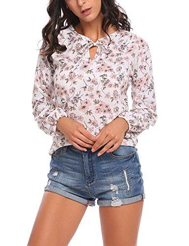 SE MIU Women's Long Sleeve Floral Print T-Shirts Casual Striped Blouse - Top Miu Miu
