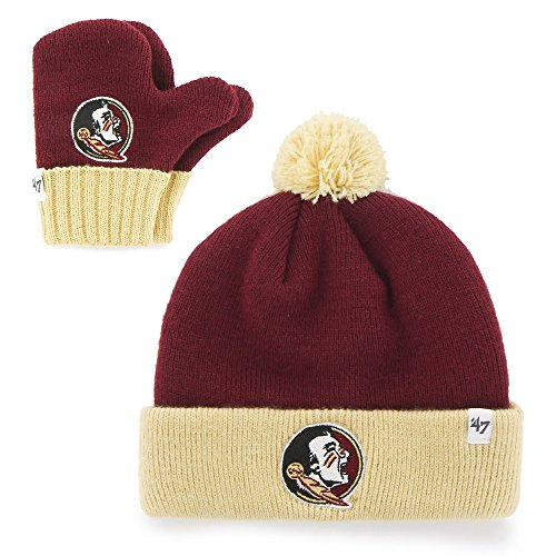 (NCAA Florida State Seminoles Infant '47 Bam Bam Knit Hat and Mittens Set, Cardinal )