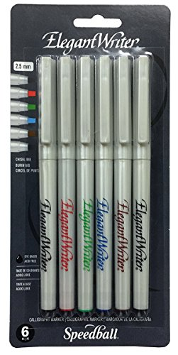 Speedball 2882 Elegant Writer 6 Medium Calligraphy Markers Set, Assorted Colors by Speedball