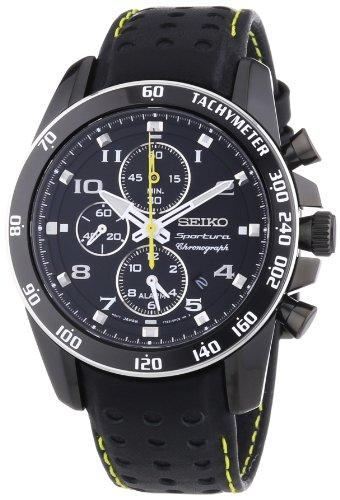 Seiko Sportura SNAE67P1 Men's Leather Strap Black Dial Chronograph Alarm -