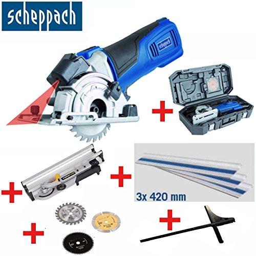 SCHEPPACH Tauchsäge / Mini-Handkreissäge PL 285 Set mit Schnittlinienlaser - inklusive 3 Sägeblätter, Gehrungsstation, Parallelanschlag, Führungsschiene und Koffer