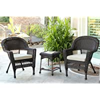 Jeco W00201_2-CES006 3 Piece Wicker Chair and End Table Set with Tan Cushion, Espresso