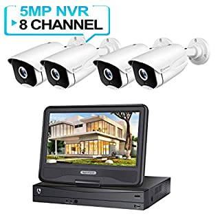HeimVision HM541 5MP PoE Security Camera System with 10 inch LCD Monitor, 8CH NVR 4Pcs Outdoor/Indoor Surveillance Cameras with Night Vision, Waterproof, Motion Alert, Face Detection, Remote Access