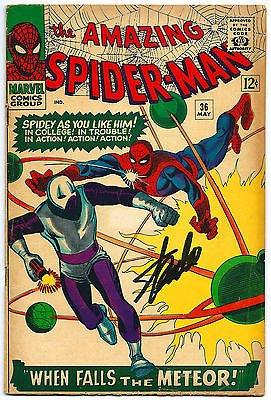 STAN LEE HAND SIGNED SPIDERMAN #36 COMIC BOOK PSA/DNA GRADED GEM MINT 10! V07902