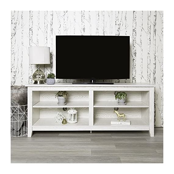 Home Accent Furnishings Lucas 58 Inch Television Stand in White Wash - Transitional and Classic Look High-grade MDF and laminate construction Rich, textured white wash looking finish - tv-stands, living-room-furniture, living-room - 51gJdtak%2BDL. SS570  -