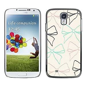 Bow lazo del modelo beige del trullo Brown Negro - Metal de aluminio y de plástico duro Caja del teléfono - Negro - Samsung Galaxy S4
