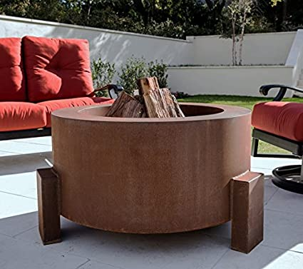 38 Inch Round Cor-ten Steel Fire Pit - Wood Burning Configuration - Natural  Gas - Amazon.com: 38 Inch Round Cor-ten Steel Fire Pit - Wood Burning