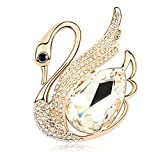 Sojewe Women Swan Brooch Pin White Swarovski Elements Crystal Gold Plated for Dress Accessories
