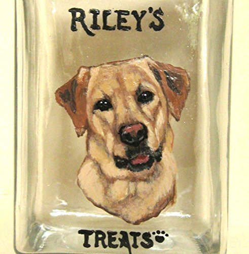 (Personalized Dog Treat Jar, Custom Canister, Dog Biscuit Container, Yellow Labrador Retriever)