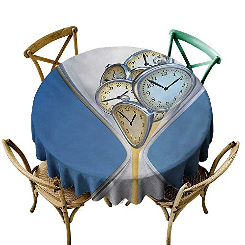 round tablecloth 36 inch Clock,Hourglass Time Clocks with Sand Pattern for Home A Vintage Design Print,Blue and Sand Brown Dust-Proof Table Cover for Kitchen Dinning Tabletop Decoration ()