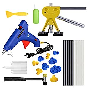 AUTOPDR 29Pcs DIY PDR Car Body Paintless Dent Repair Remover Tools Paintless Dent Removal Puller Dent Lifter Kits Puller Lifter Silde Hammer Tap Down Hot Glue Gun Sticks Set