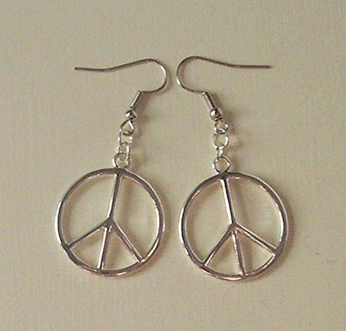 Simple Large Peace Sign Earrings,Silver Peace Earrings,CND Earrings,Retro Jewellery,Handmade Jewelry ,