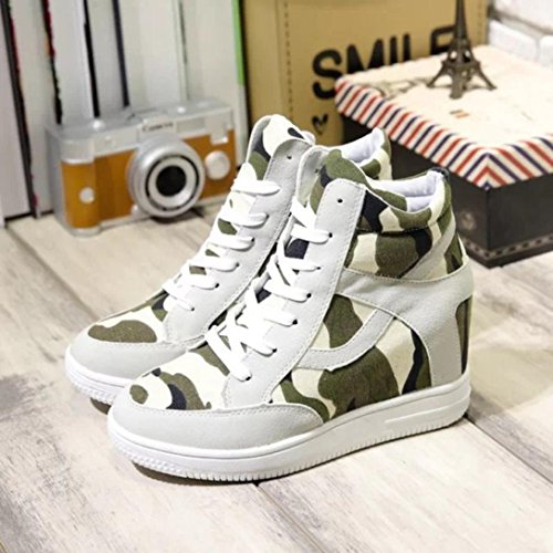 Shoes Increased Casual Boot Ladies Inkach Height Canvas Top Beige Shoes High Womens XwnfURvqx6