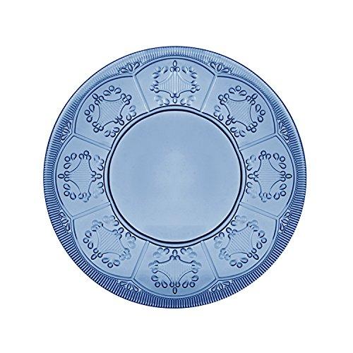 (Fitz and Floyd 83-019 Trestle Glass Plate, 8.5-inch, Indigo (4-Piece Set))