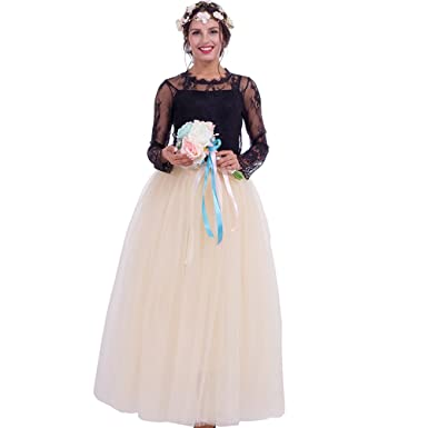 Party Train Women Bridal Tulle Skirt Maxi Long Multi Layered Prom Ball Gown Elastic Waist(