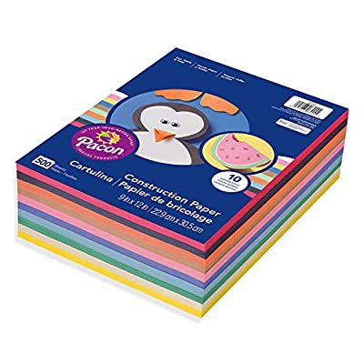 """Art Street Lightweight Construction Paper, 10 Assorted Colors, 9"""" x 12"""", 500 Sheets"""