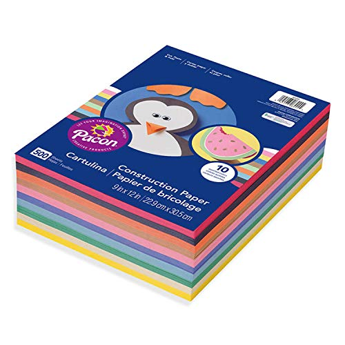 Pacon PAC6555 Lightweight Construction Paper, 10 Assorted Colors, 9