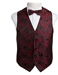 EGE2B.01 Multiple Colors Paisley Microfiber Vest Pre-Tied Bow Tie Set by