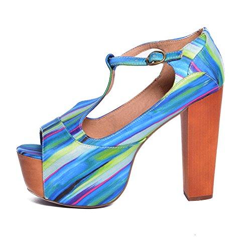 Jeffrey Campbell - Zapatos de vestir de tela para mujer Varios Colores azul verde 37