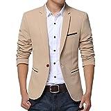 Kool Classic Men's Slim Fit Suits Casual One Button Flap Pockets Solid Blazer Khaki Tag 4XL=US L