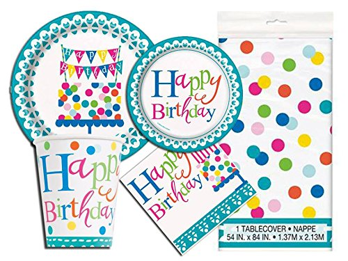 Confetti Birthday Deluxe Party Pack Serves 16 Plates Cups Napkins & Tablecloth