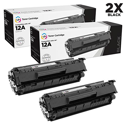 LD Compatible Replacements for HP Q2612A/12A Set of 2 Black Laser Toner Cartridges for HP LaserJet Printer Series