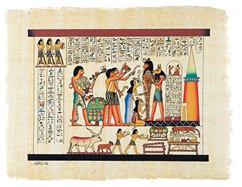 Leolana Handmade Egyptian Papyrus Painting - Embalmment of King Tut - 9x13 Multicolor