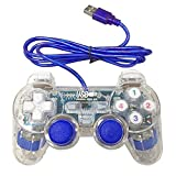 Bowink USB Pc Computer Vibration Shock Wired Gamepad Game Controller Joystick Game Pad (Clear Blue)