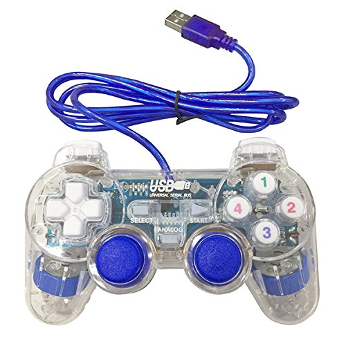 Poulep USB Pc Computer Vibration Shock Wired Gamepad Game Controller Joystick Game Pad (Clear Blue)