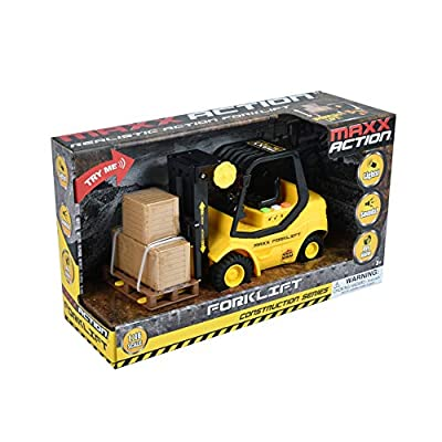 Sunny Days Entertainment Construction Vehicle – Lights and Sounds Pull Back Toy with Friction Motor   Receive Either The Fork Lift or Front End Loader   Color May Vary – Maxx Action: Toys & Games