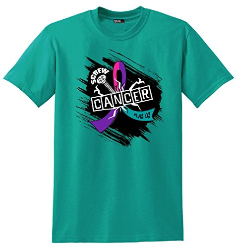 Fight Like a Girl Screw Thyroid Cancer Unisex T-Shirt - Teal, Purple, and Pink Ribbon [L]