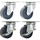 4 All Steel Swivel Plate Caster Wheels w Brake Lock Heavy Duty High-gauge Steel (2'' Combo 2x swivel with brake, 2x swivel)