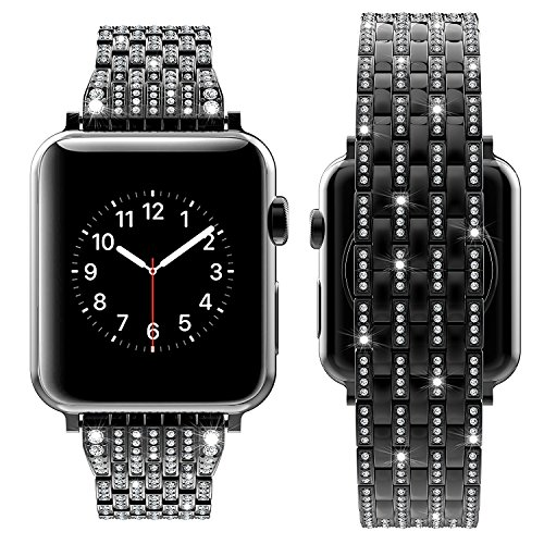 WAfeel Compatible for Apple Watch Band Luxurious Crystal Rhinestone Diamond Stainless Steel Bracelet Strap for iWatch series3/2/1-42mm/38mm Rose Gold (Black, 42mm)