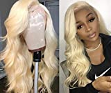 613 Full Lace Wigs Human Hair Blonde Body Wave Hair Wig Pre Plucked Hair Line for Black Women Wave Hair with Baby Hair (18inch, lace front wig)